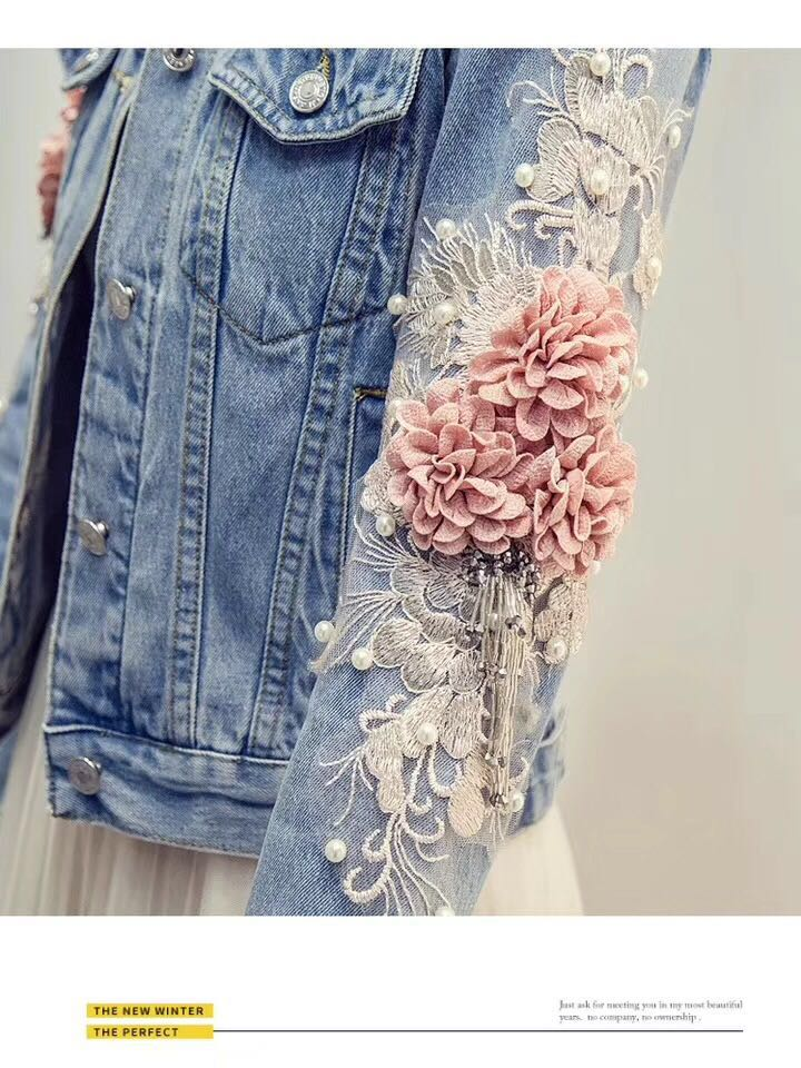 HTB1zpF3PhTpK1RjSZFKq6y2wXXa3 2019 Autumn Women Embroidery Three Dimensional Flowers Pearl Bead Short Denim Coat Woman Long Sleeve Jean Jacket xintiandi