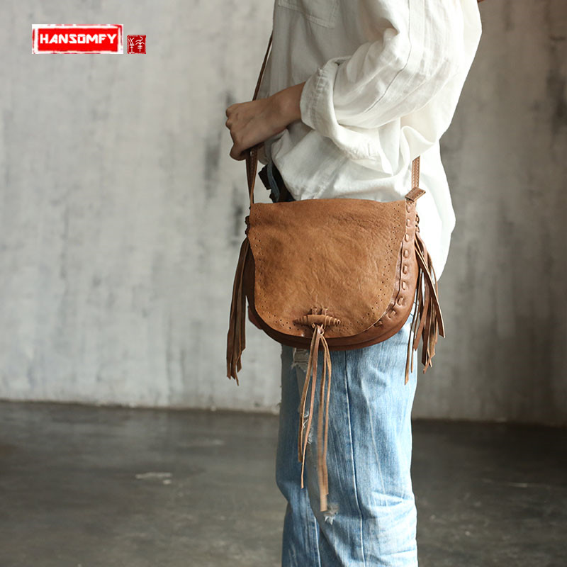 Original Handmade retro tassel Women bag shoulder bag genuine leather handbag National wind female messengert BagsOriginal Handmade retro tassel Women bag shoulder bag genuine leather handbag National wind female messengert Bags
