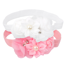 Pink & White Newborn Baby Girl Headband Flower Hair Floral Pearl Lace Hairband Elastic Band white