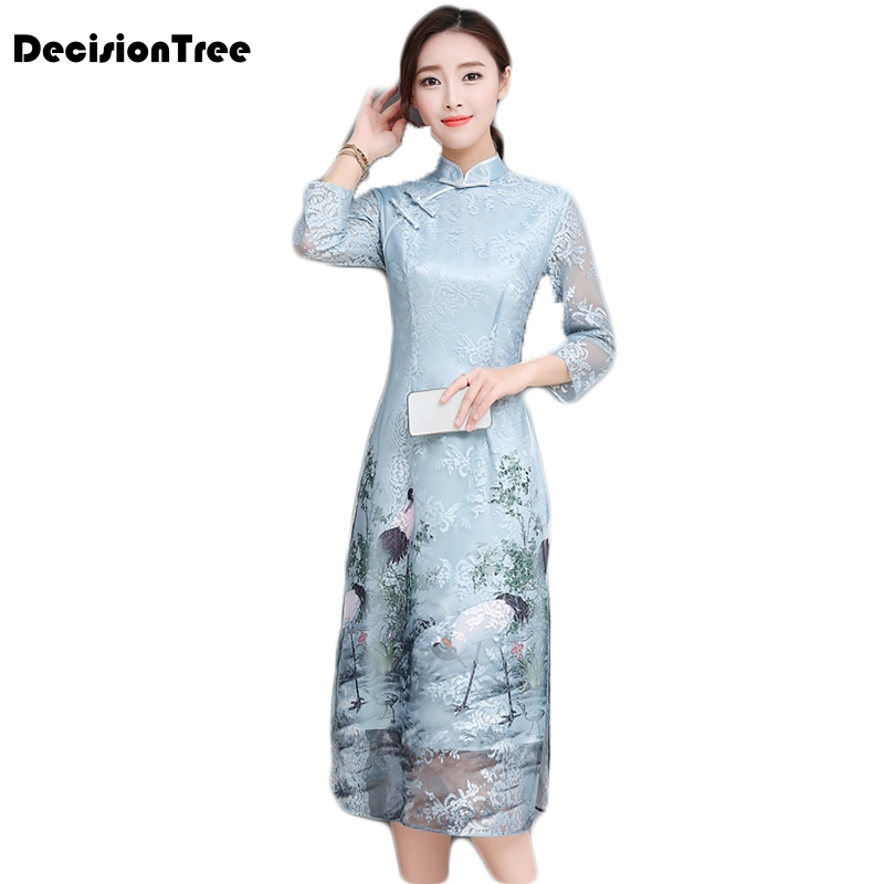 2019 Asian Clothing Aodai Vietnam Cheongsam More Feminine Dress For Women Chinese Traditional Dress