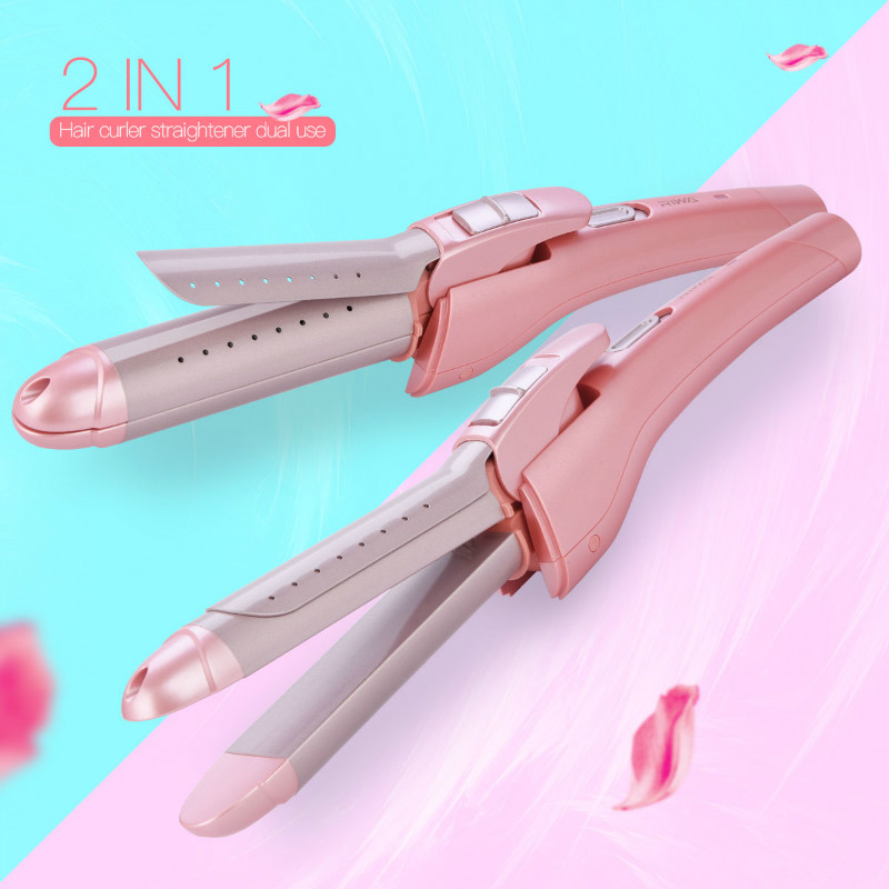 Travel Mini Hair Curler Roller Temperature Adjustable Curly Hair Curling Wand Ceramic Straightening Flat Iron Hair Styling Tools ckeyin 9 31mm ceramic curling iron hair waver wave machine magic spiral hair curler roller curling wand hair styler styling tool