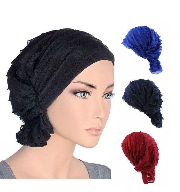 Nueva moda mujeres arrugas Ruffle Chemo Hat Beanie bufanda turbante Headwear  para el cáncer 8567d867cdf5