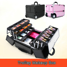 Aluminum Storage Box Organizer Folding Jewelry Cosmetic Makeup Case Trolley Beauty Case with inner tray Pink