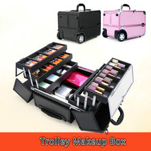 Aluminum Organizer Folding Jewelry Cosmetic Makeup Case Trolley Beauty Case for Luggage Box(China)