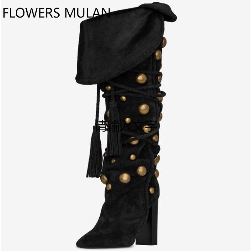 Femmes mi-mollet bottes d'hiver dame sexy bout pointu talon carré en métal décoration botte en daim botte lacée femme mode chaussures 35-42