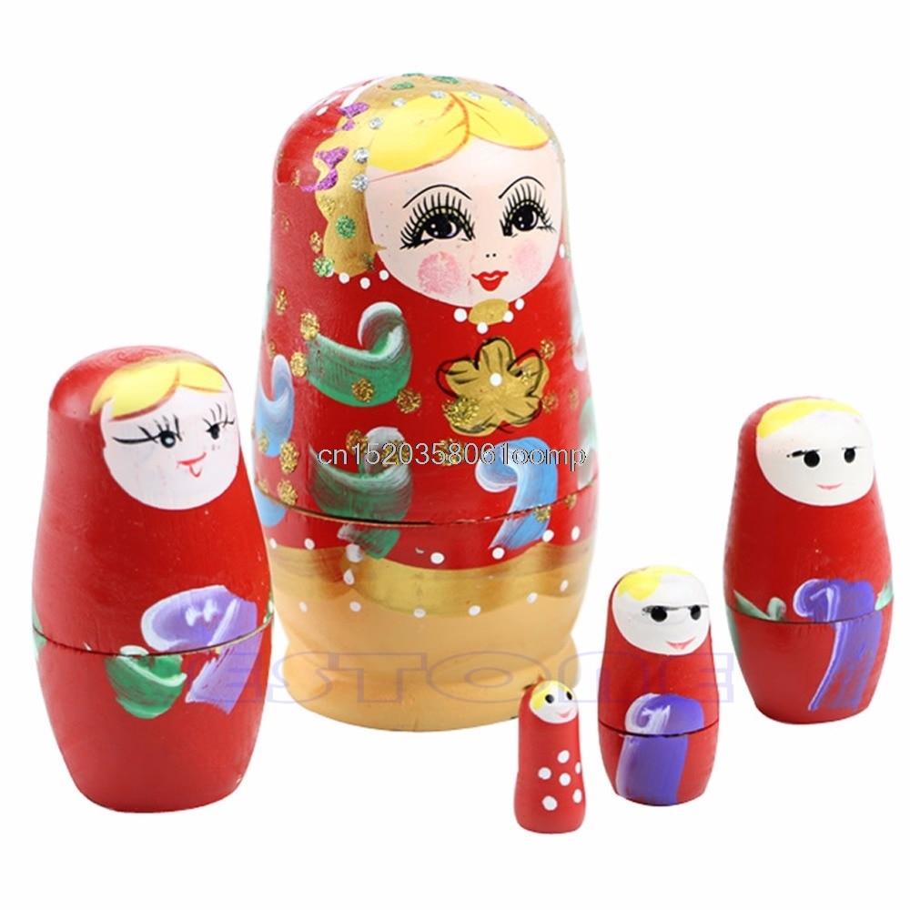 Dolls & Stuffed Toys Toys & Hobbies Hot 5pcs/set New Dolls Wooden Russian Nesting Babushka Matryoshka Hand Painted Gift Toy #k4ue# Drop Ship Punctual Timing
