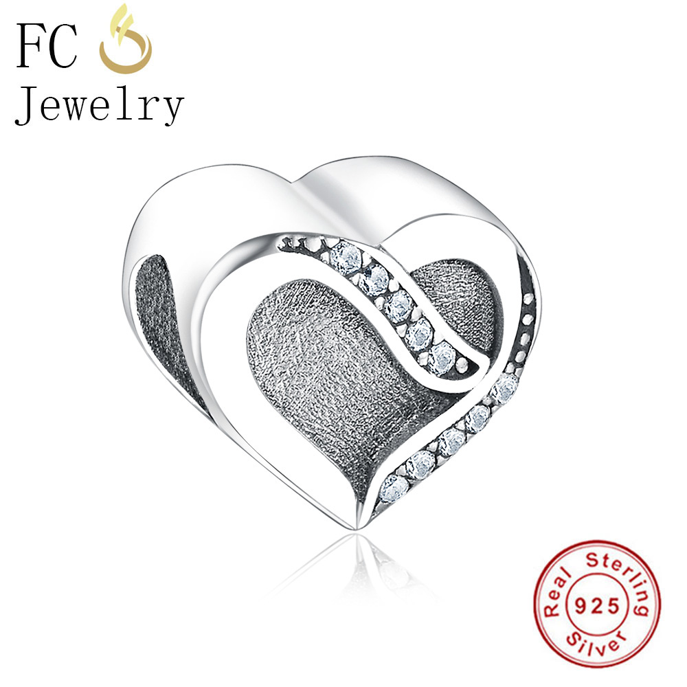 FC Jewelry Fit Original Pandora Charms Bracelet Authentic 925 Sterling Silver Ribbon Love Beads Clear CZ Berloque Valentine DIY