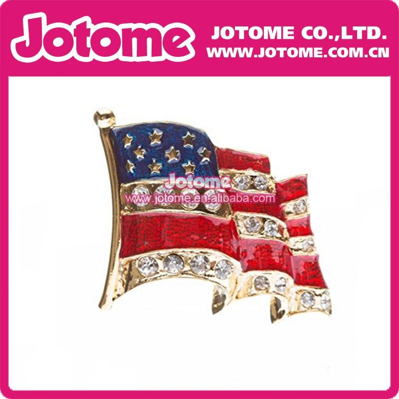 4341e5d3e Mulheres Bandeira Americana Patriótica de Cristal Pin Broche de Strass Ouro