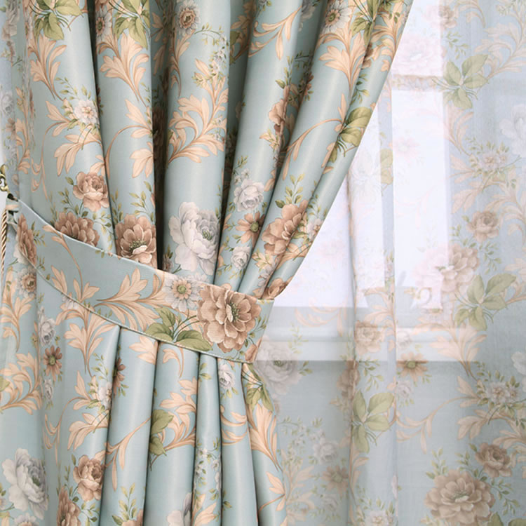 Hot Sale Modern Rose Floral Curtains For Window Curtain Sheer Curtains For Living Room The