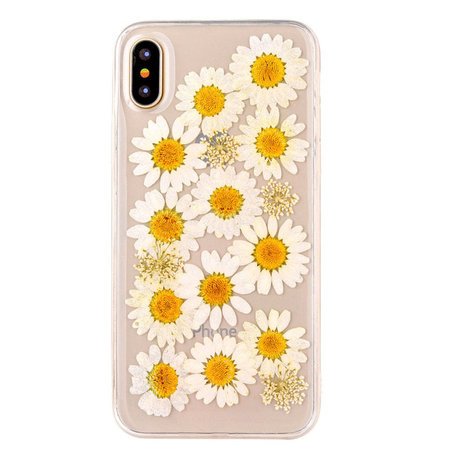 size 40 4ec3b 8eea0 US $3.99 20% OFF|Tranparent Silicon Fashion Cover For iPhone X Real Flower  Pressed Phone Cases For iPhone X Clear Case with Flowers For Girl 5.8