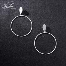 Badu Geometric Big Round Circle Earrings For Women Gold Silver Color Punk Statement Fashion Large Hollow Drop Jewelry