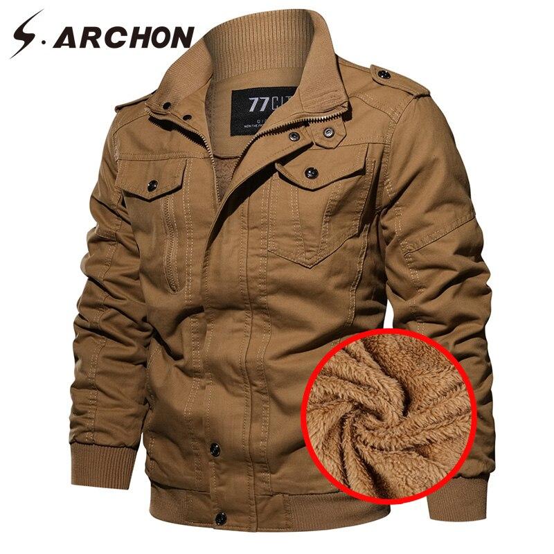 S. ARCHON зимняя военная куртка мужская теплая Толстая флисовая подкладка тактическая куртка пальто армейский пилот повседневные ВВС карго ку...