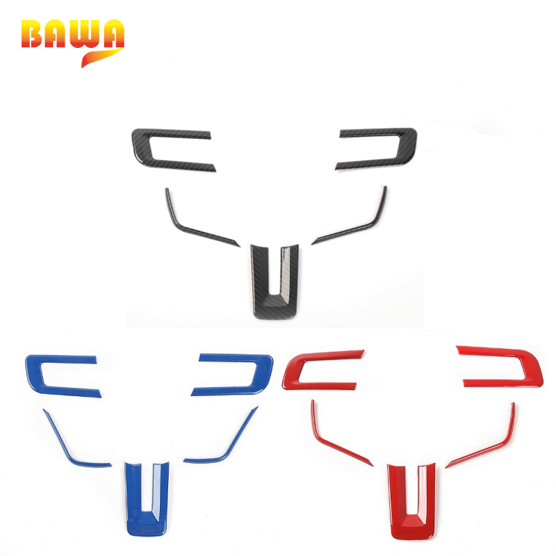 HANGUP ABS Car Interior Steering Wheel Decoration Trim Cover Stickers Accessories For Ford Mustang 2015 Up Car Styling