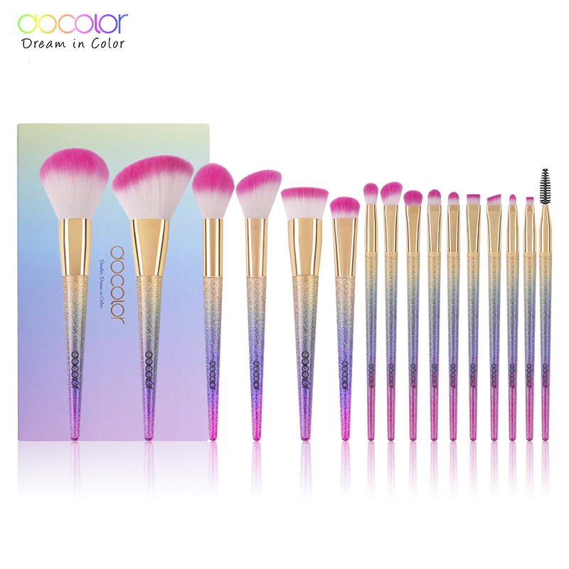 Docolor 16PCS Professional Makeup Brushes Fantasy brush Set Foundation Powder Eyeshadow Kits Gradient color makeup brush set geo