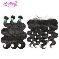 Buy 3 Get 4 Brazilian Virgin Hair 3pcs Human Hair Bundles with Closure Body Wave Hair Weaving with Lace Frontal Berrys Fashian