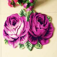 Free shipping handmade 2 rose art rug for bedroom/bedside art 3D carpet romantic purple rose pink rose 70*60cm