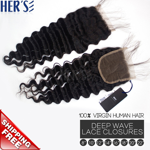 Malaysian Virgin Hair Weave Lace Closuresdeep Wave Human Hair
