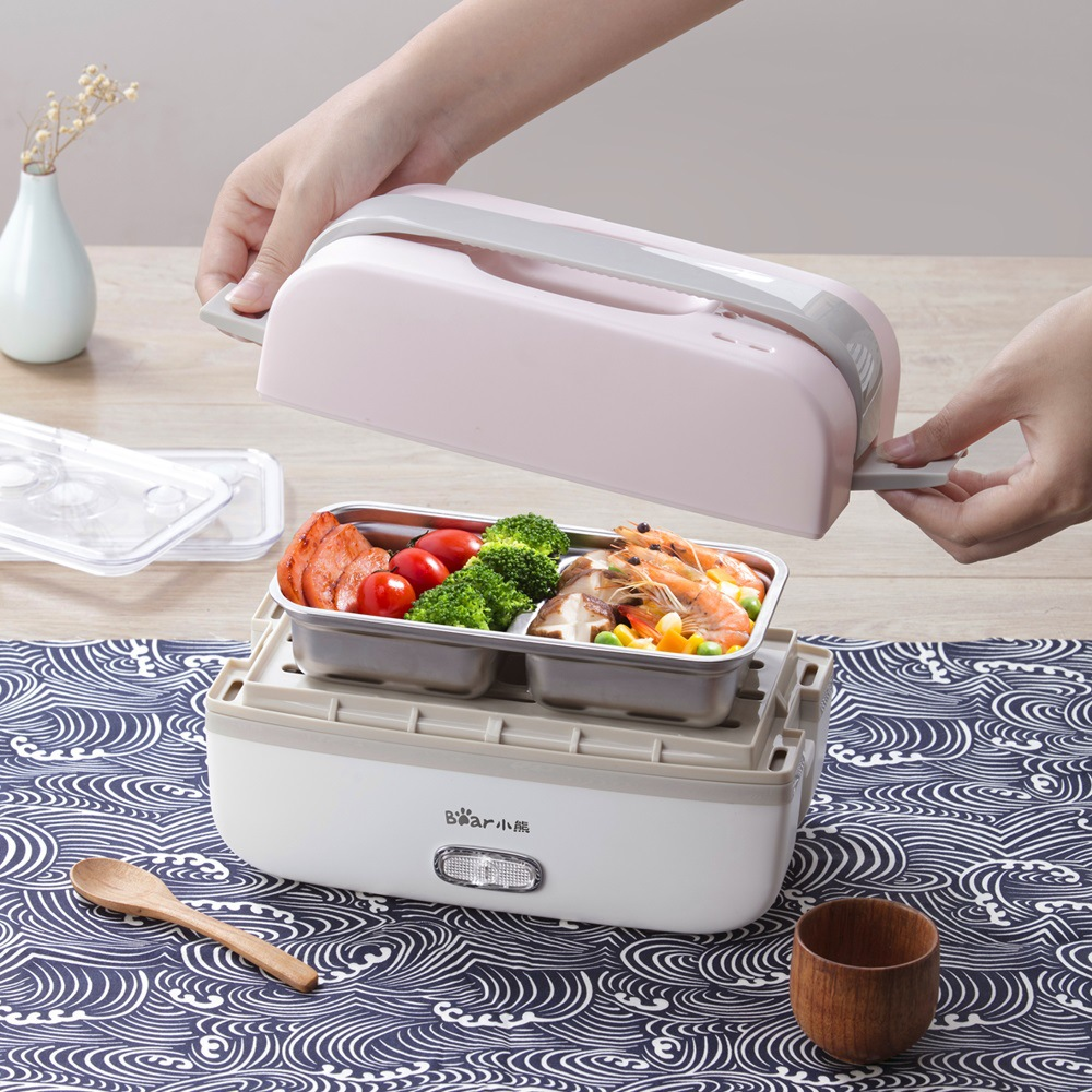 220V Electric Rice Cooker Portable Kitchen Mini Cooker Electric Lunch Box Double-layer Heating Heat Preservation Hot Rice