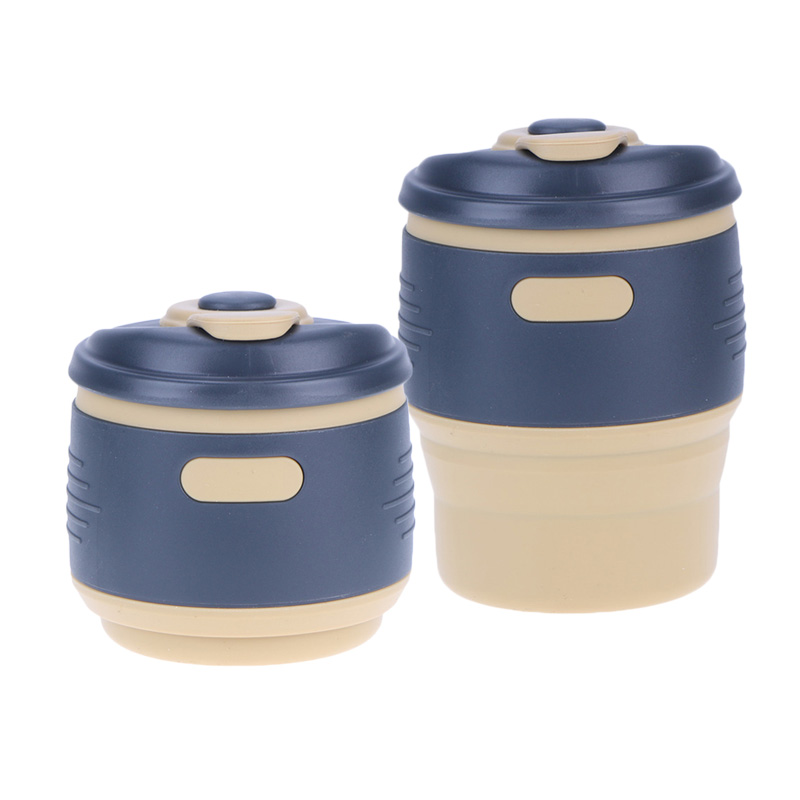 Silicone Retractable Coffee Cup Outdoor Travel Folding Water Bottle Portable Insulation Coffee Tea Mug Cup Drinkware
