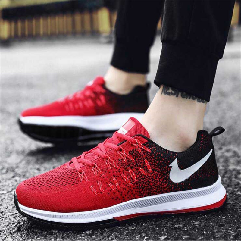 2019 New Korean Sports Shoes Men Spring And Summer Flying Woven Casual Men's Shoes Low Help Breathable Mesh Cloth Student Shoes