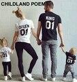 2016 verano de la Familia de Trajes A Juego de manga Corta de Algodón a juego ropa de la familia Camiseta Familia Mirada de la Familia ropa a juego