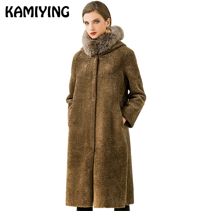 Kamiying Fur Coat Girls's Center Size 2018 Winter New Model Fox Fur Synthetic Fur Each Sides Can Be Worn Hooded Coat Pkhd715