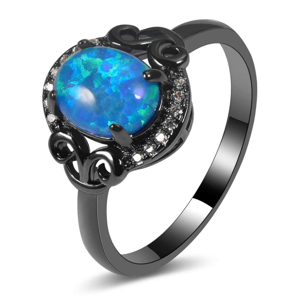 Hot Sale Exquisite Blue Fire Opal 14KT Black Gold Filled High Quantity Engagement Wedding Ring Size 5 6 7 8 9 10 11 A105