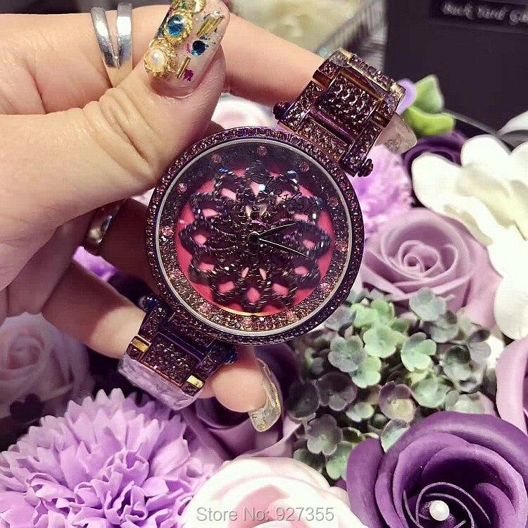 Nouveau chanceux fleur femmes violet montres dame brillant Rotation robe montre grand diamant pierre montre-bracelet fille horloges heures