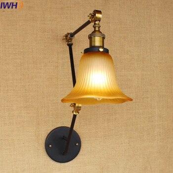 IWHD American Style Wandlamp Loft Industrial Vintage Wall Lamp Retro Adjustable Iron Sconce Bedroom Lighting Stairs Arandela