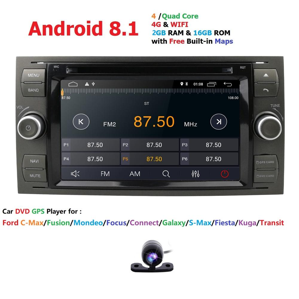 Quad Core AutoRadio 2 din Android 8.1 Car DVD Multimedia Player For Ford Focus 2 3 Mondeo S C Max Fiesta Galaxy Car Audio Wifi