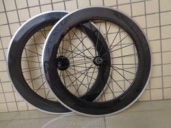1 para 700C 80mm clincher obręczy rower szosowy węgla zestawy kół rowerowych z aluminiowy hamulec powierzchni + piasty + aero szprychy + szaszłyki darmowa wysyłka|Koła roweru|Sport i rozrywka -