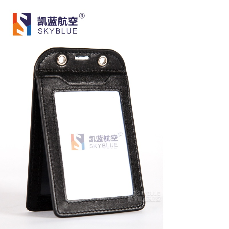 Genuine Leather ID Card Case Boarding Pass Card Hoder Double Layer for 3 cards with Metal