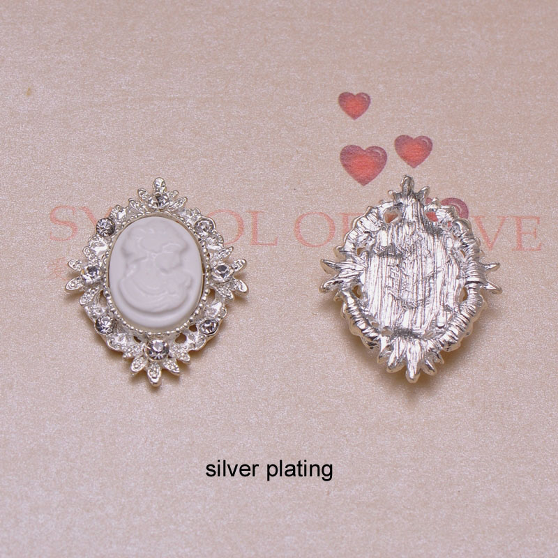 J0859 25mmx32mm rhinestone button rhinstone cluster silver or gold plating flat back 100pcs lot all