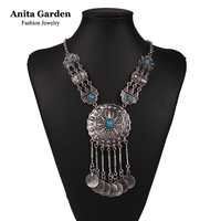 Antique silver plated Coin tassels necklace Black blue stones Round pendant necklace Anita Garden brand hyperbole jewelry XD3105