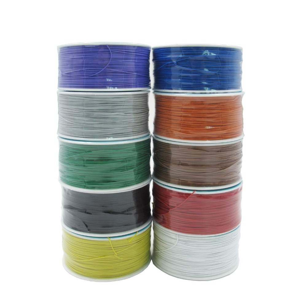 250 meters long electrical wire, wrapping wire high quality 30awg ok line q9 electric cable high quality electrical wire wrapping wire wrap 10 colors single strand copper awg30 cable ok wire
