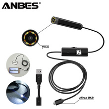 ANBES Endoscope Camera 2 in 1 USB Micro 7 MM 1M Endoscope Waterproof 6 LED Bores