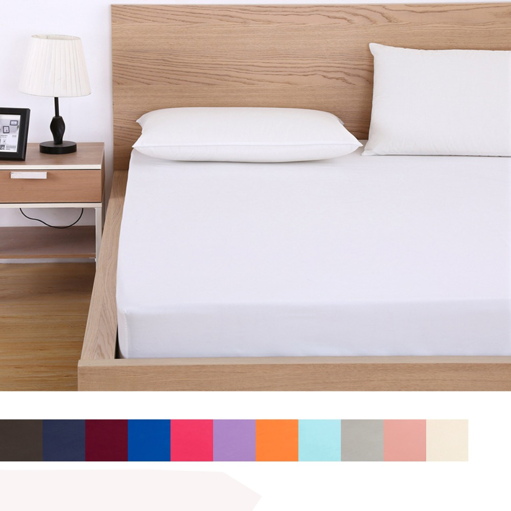 Solid Fitted Sheet Mattress Cover with all around Elastic Rubber Band Bed Sheet