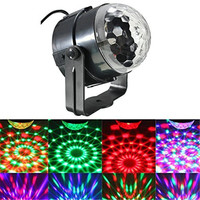 LumiParty Mini Sound Activated RGB LED Crystal Magic Rotating Ball Effect LED Stage Lights With Remote