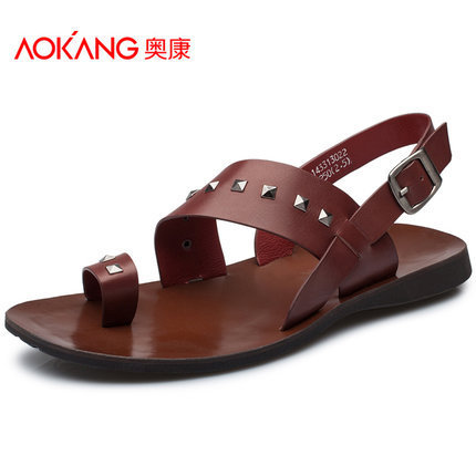 199c8ef1b2f486 Aokang Male Shoes Leather 2015 Vintage Rivet Summer Sandals For Men Daily  Casual Breathable Comfort Beach Shoes Leather Sandals-in Men s Sandals from  Shoes