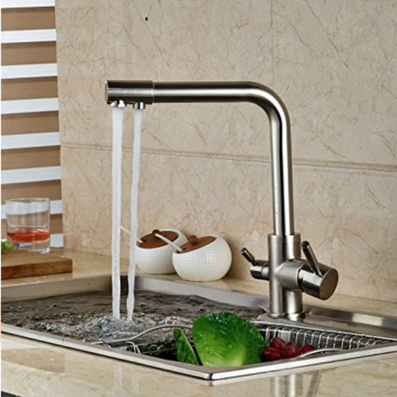ФОТО Modern Swivel Dual Spouts Brushed Nickle Bathroom Kitchen Faucet Single Hole Tap