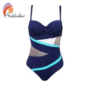 Image 4 - Andzhelika Sexy Einem Stück Badeanzug 2019 Bademode Frauen Monokini Bodysuit Netz Badeanzug Weibliche Badeanzüge Sommer Strand Tragen