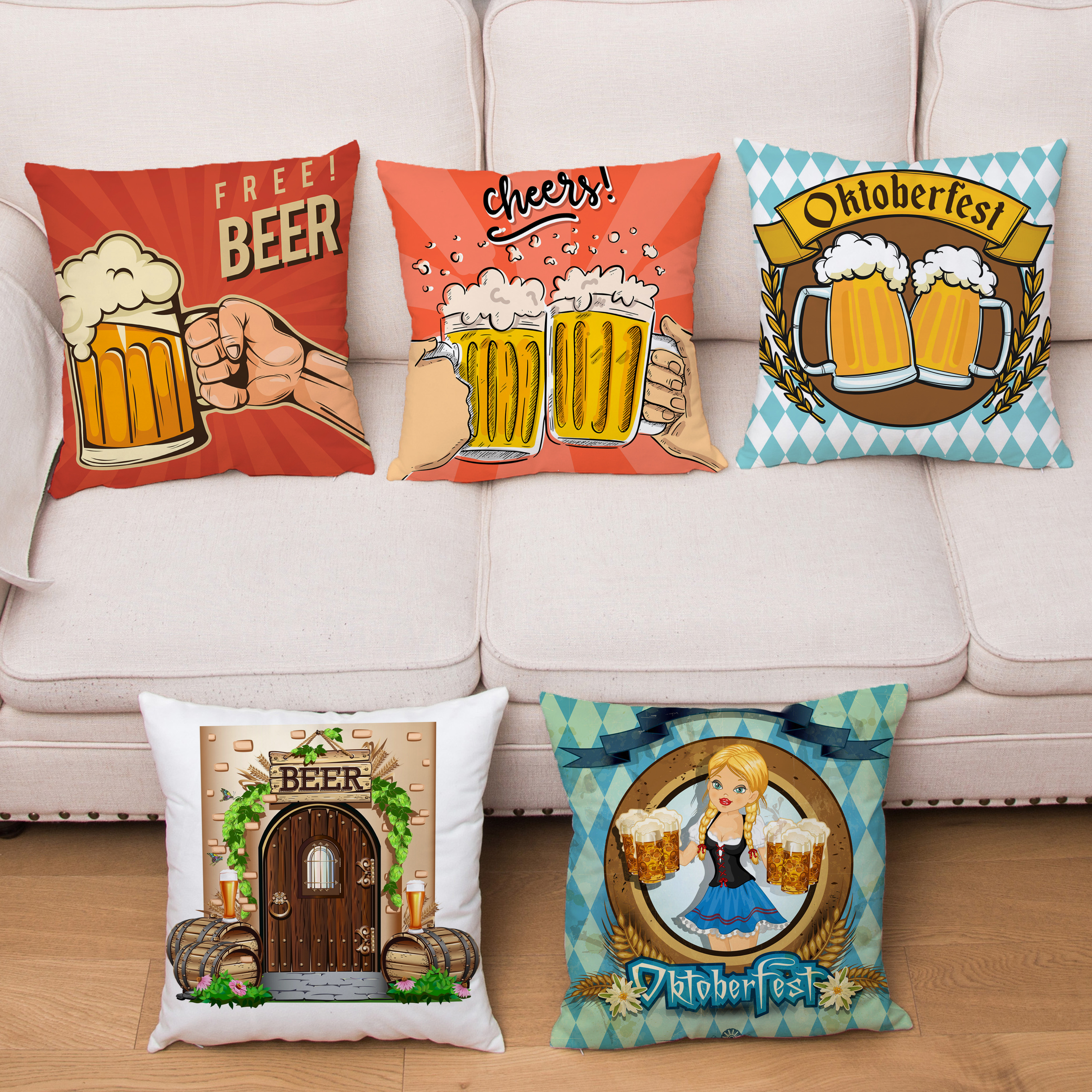 Vintage Cheers Beer Wine Cushion Cover Super Soft Short Plush Pillow Covers Fashion Home Decor Pillows Cases Throw Pillowcase