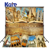 Kate World Famous Architecture Backdrops Wood Stamp Background Large Size Seamless Photo For Photography Studio