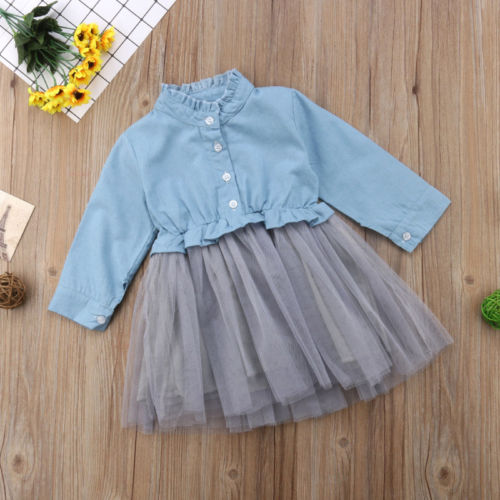 Toddler Infant Baby Girl Denim Dress Long Sleeve Party Pageant Dress Kid Clothes
