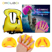 OMOUBOI Yellow Plastic Training Hand Webbed Paddles Fins With Inflatable Float Buoyancy Swim Vest Fits Adult For Swimming Safe