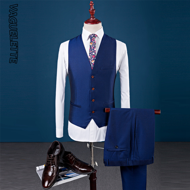 VAGUELETTE Royal Blue Double Breasted Suit Men 3 Piece Vest Elegant Black Men Tuxedo Suit Slim Fit Formal Wedding Stage Wear in Suits from Men 39 s Clothing