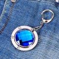 Caliente Rhinestone Redondo sostenedor del Monedero Del Bolso Plegable Gancho soporte de la Bolsa Del Sostenedor w/Llavero (Plateado y Azul Real)