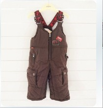 Retail winter boys and girls children's ski pants strap trousers free shipping in stock цена