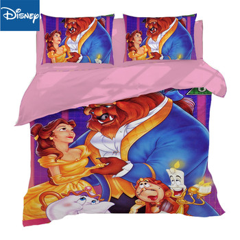 Beauty and the Beast Disney Cartoon 3D Printed Bedding Set for Girls Bedroom Decor Cotton Quilt Duvet Cover Twin full queen size