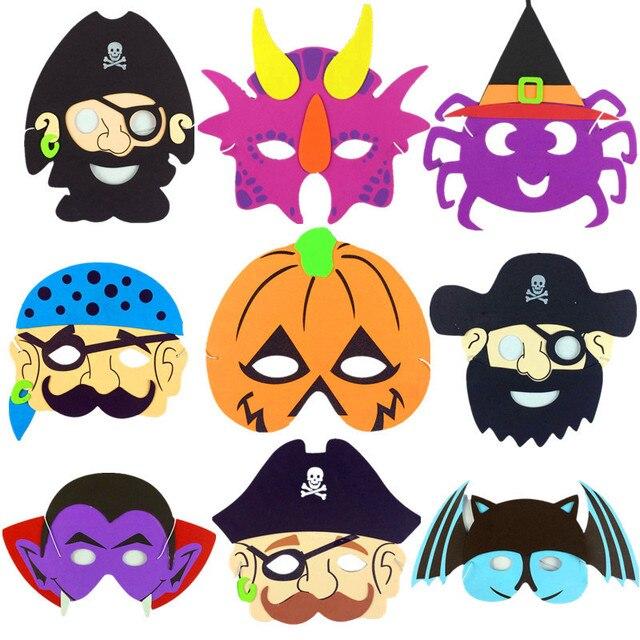 ZLJQ Halloween EVA Mask Pirate Series Children Cartoon Masquerade Pumpkin Vampire Spider Bat Kids Birthday Party